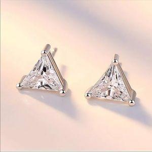 Sterling Silver 925 Triangle Stud Earrings